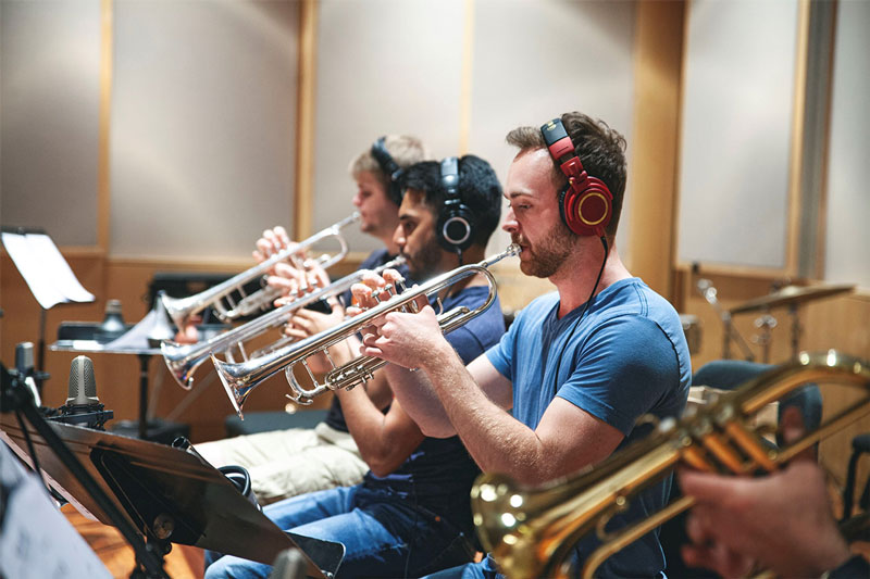 Kyle Marlin recording in studio with the Paul Lichty Jazz Orchestra