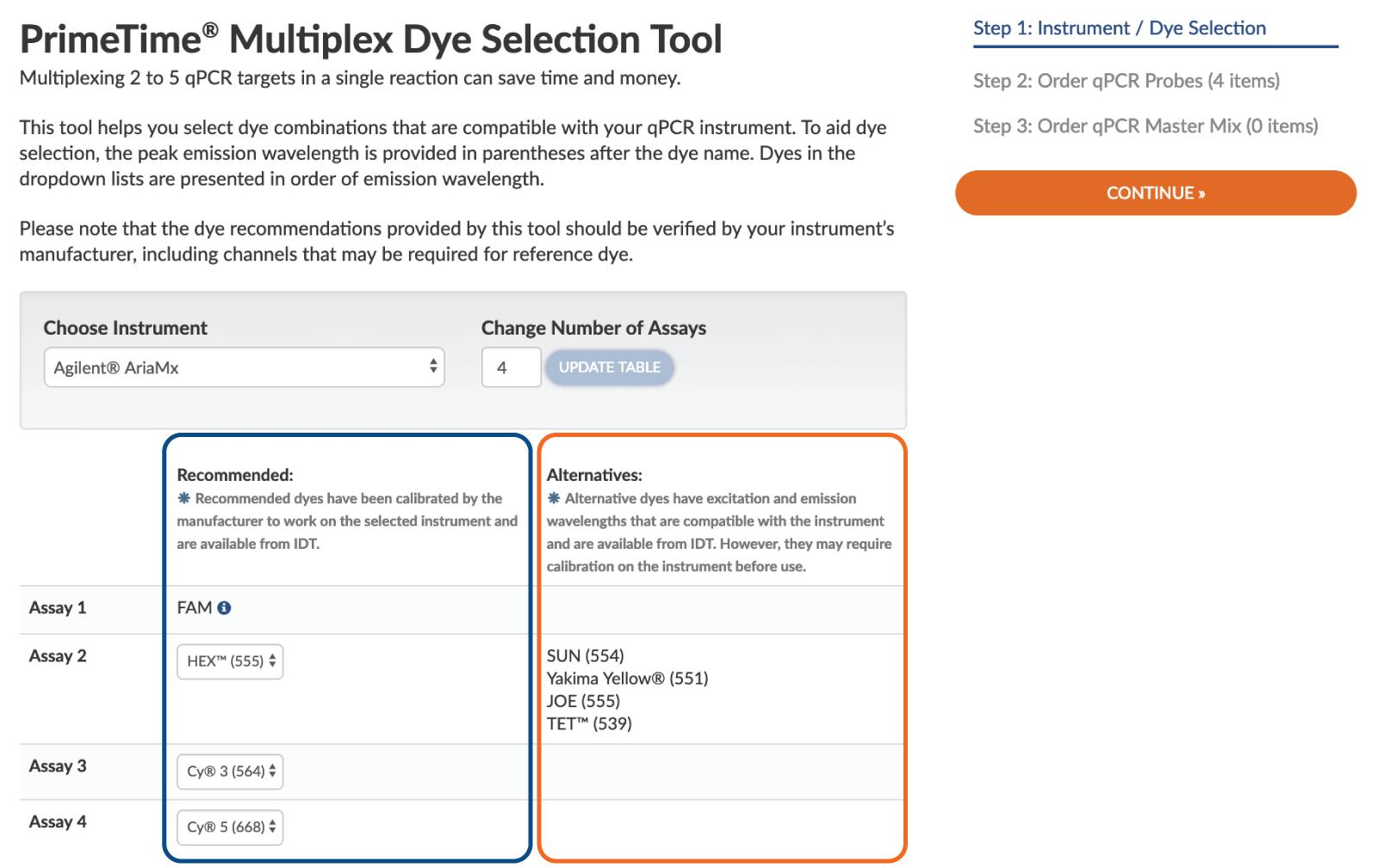 Multiplex qPCR dye selection tool for qPCR instruments
