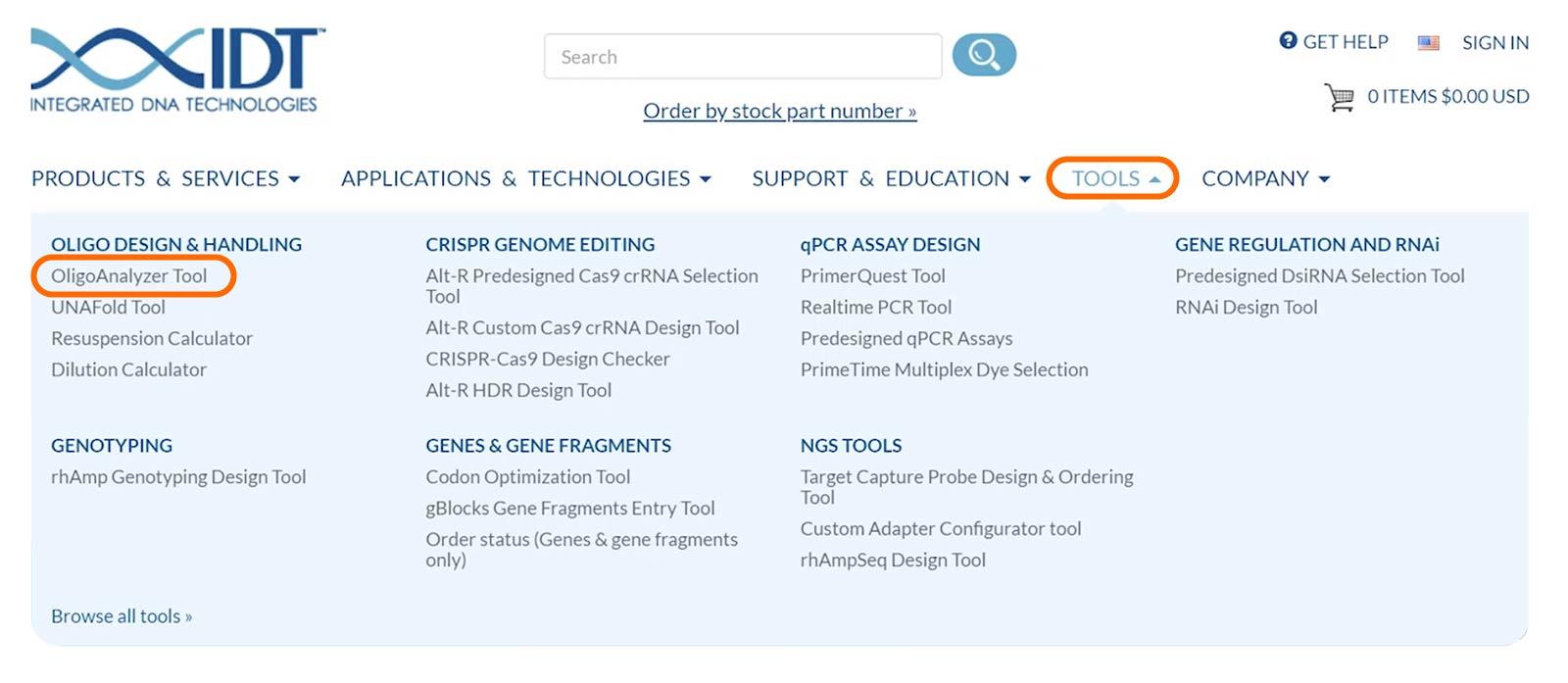 Use the IDT tools menu to access OligoAnalyzer