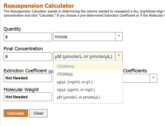 Dilution calculator mg ml.