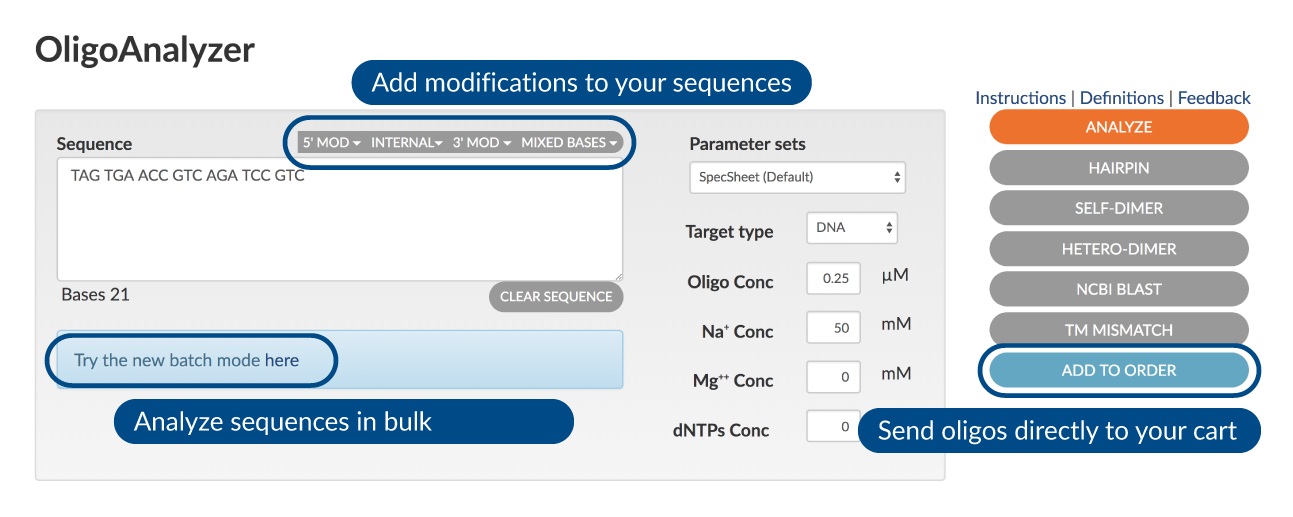 OligoAnalyzer screenshot
