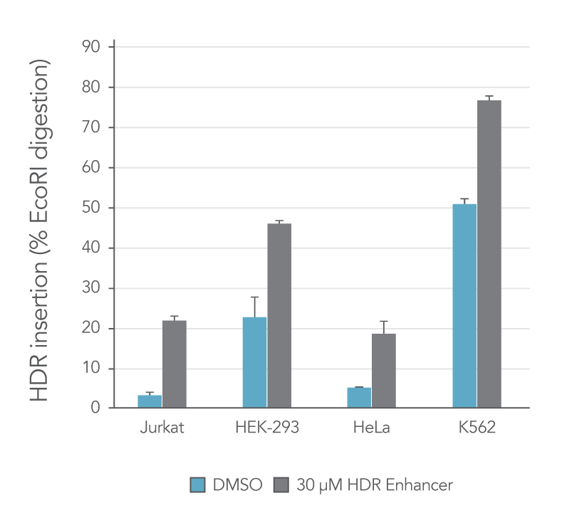 HDR Enhancer increases HDR rate in multiple cell types