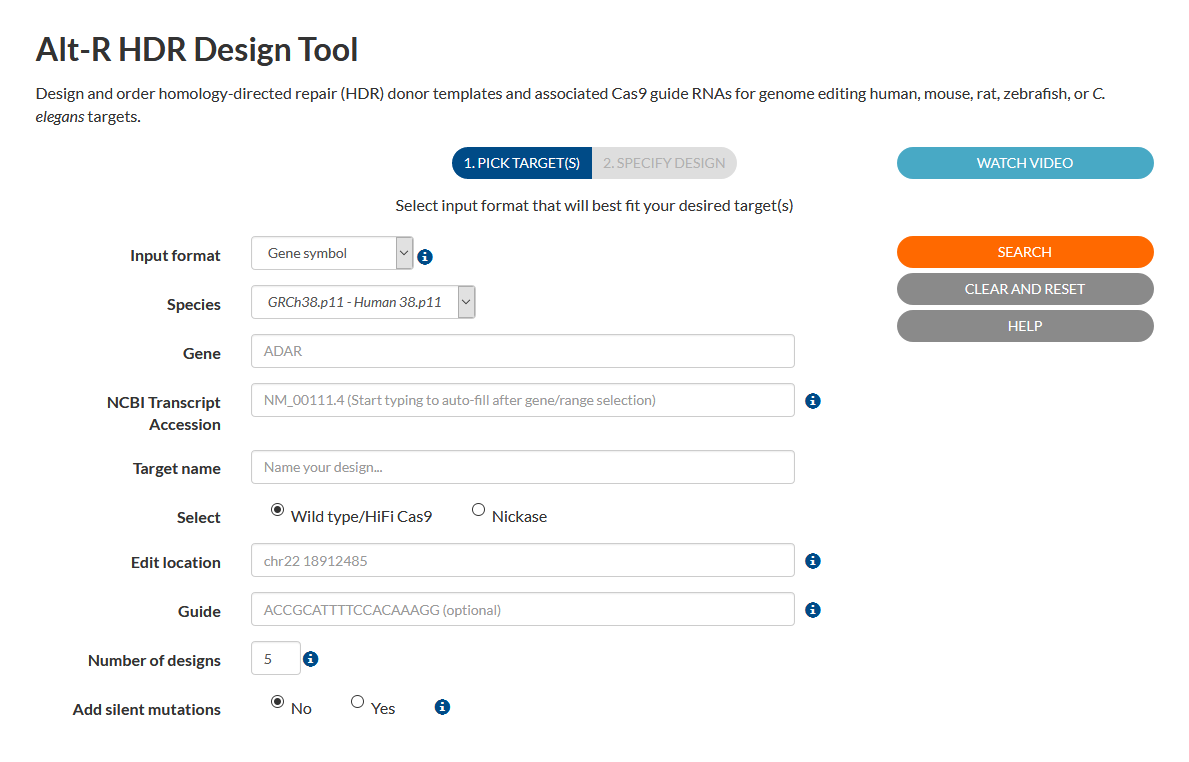 Alt-R CRISPR HDR Design Tool Screenshot